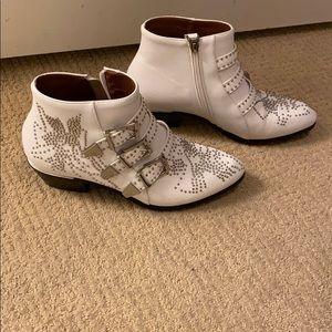 White Silver Buckle Studded Booties 9.5